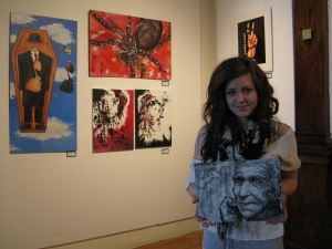 "People's Choice Winner Kali Benson with her mixed media entry  ""Age"""