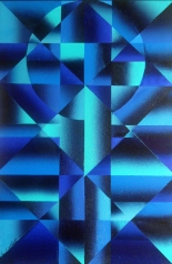 """Blue Prism"" Acrylic on Canvas, 24"" x 36"" - 2010"
