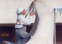 Goodwin works on Sacred Bowl sculpture at 2006 Minnesota Rocks -International Sculpture Symposium.