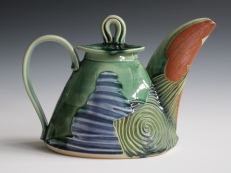 """Water & Sky Teapot"" by Denise Woodward-Detrich"